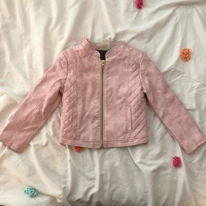 Blush Pink Genuine Kids Faux Leather Moto Jacket
